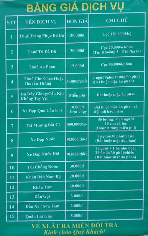 Bảng giá dịch vụ tại khu lịch Lan Vương