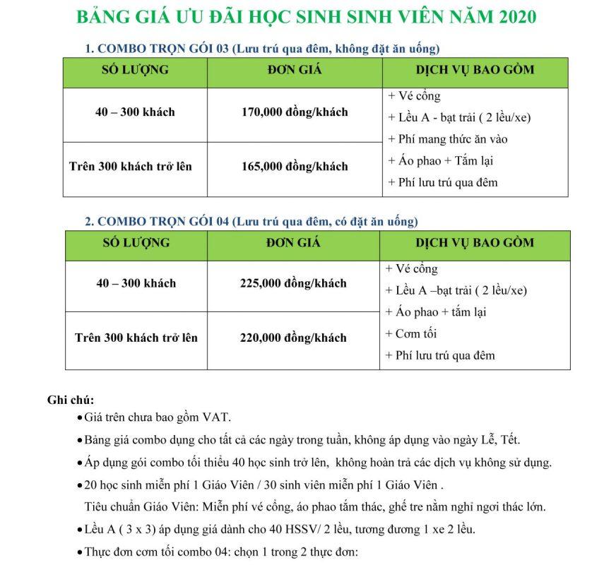 giá vé trọn gói cho học sinh sinh viên tại Thác Giang Điền