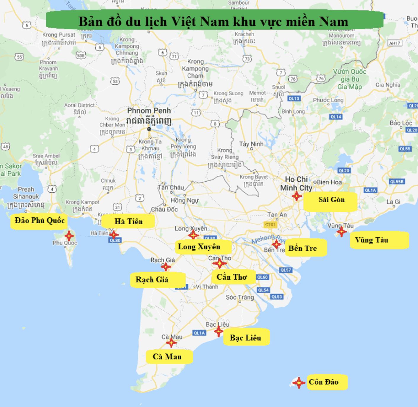 bản đồ du lịch miền nam